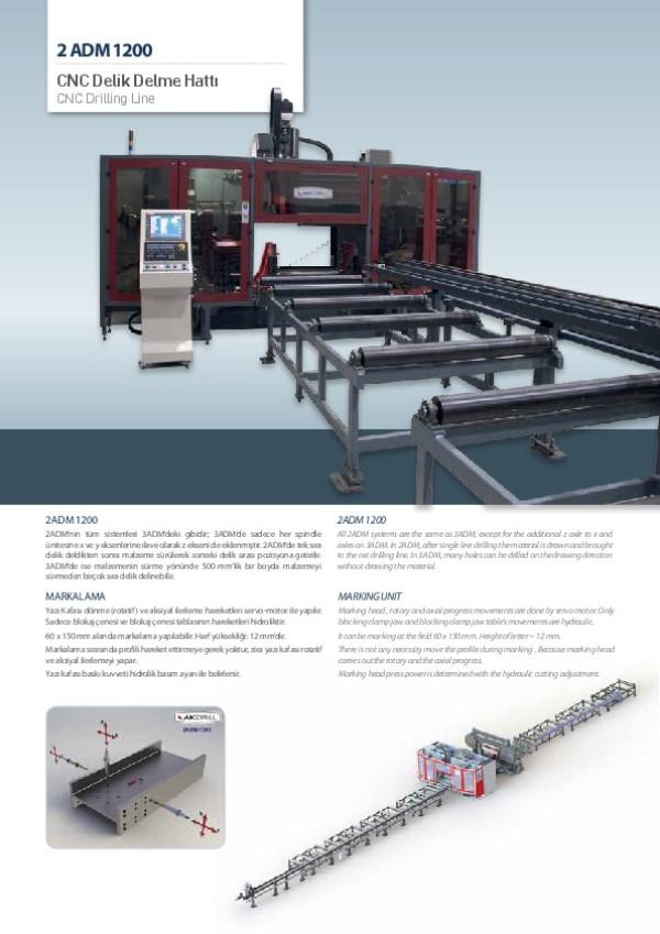 2 ADM 1200 CNC Delik Delme Hattı
