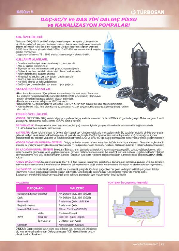 DAÇ-S/ Y ve DAS Tipi Dalgıç Pissu ve Kanalizasyon Pompaları