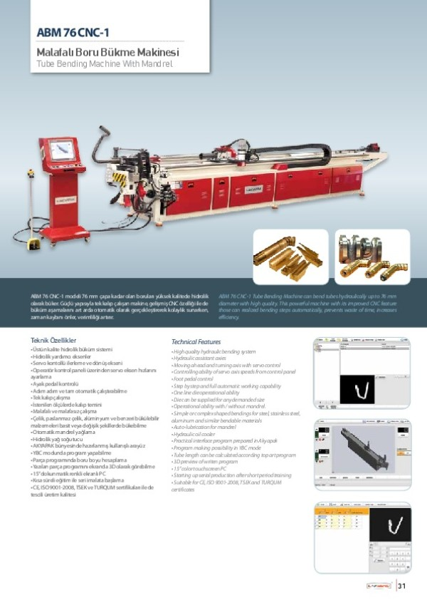 ABM 76 CNC-1 - Malafalı Boru Bükme Makinesi