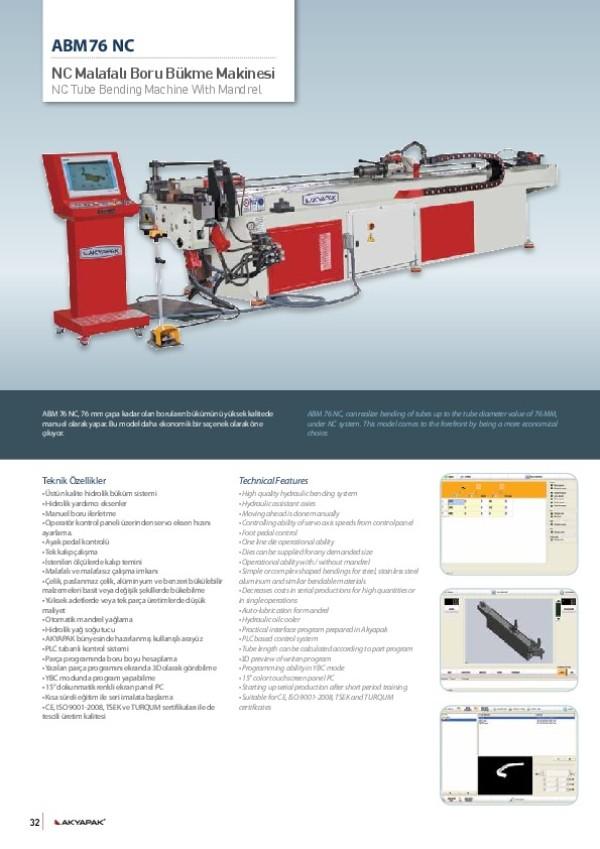 ABM 76 NC- NC Malafalı Boru Bükme Makinesi