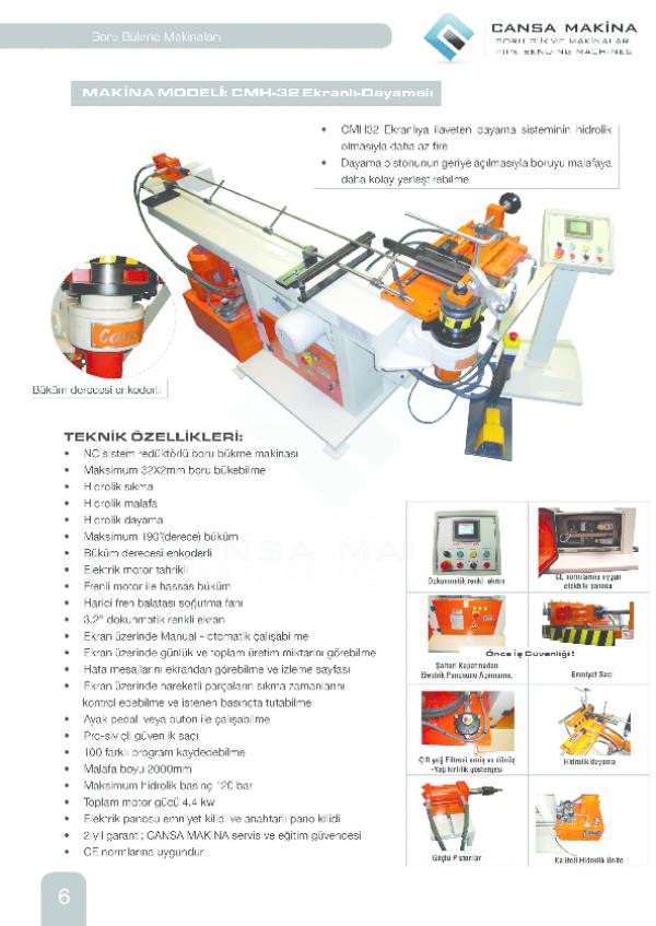 CMH-32 Ekranlı ve Dayamalı Boru Bükme Makinesi