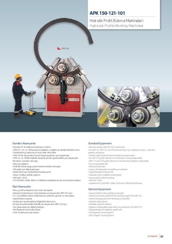 APK 150-121-101- Hidrolik Profil Bükme Makineleri