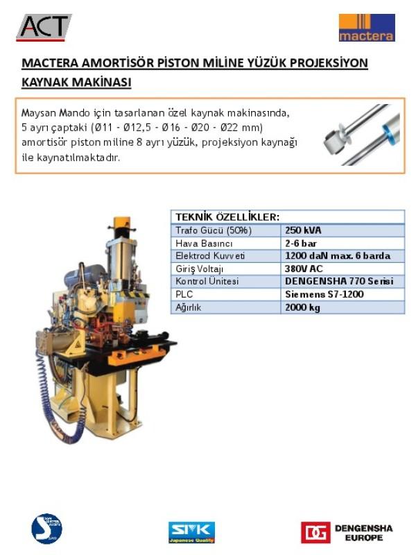 Mactera Amortisör Piston Miline Yüzük Projeksiyon Kaynak Makinası