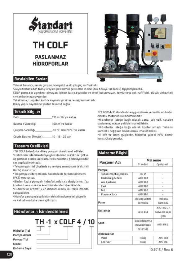 TH CDLF Paslanmaz Hidroforlar